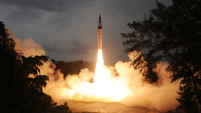 Agni V intercontinental ballistic missile (AFP Photo / DRDO)