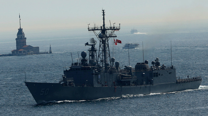 U.S. Navy frigate USS Taylor sets sail in the Bosphorus, on its way to the Black Sea in Istanbul April 22, 2014 (Reuters / Murad Sezer)