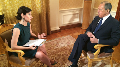 Foreign Minister of Russia Sergey Lavrov speaks during an interview with RT's Sophie Shevardnadze. (RT photo)