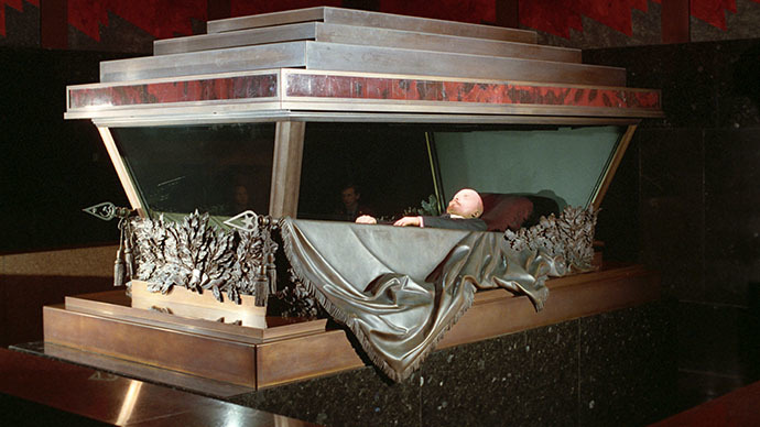 The embalmed body of Vladimir Lenin in the Mausoleum in Red Square, Moscow. (RIA Novosti / Oleg Lastochkin)