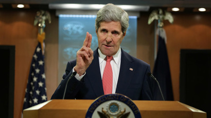 U.S. Secretary of State John Kerry makes a statement on Ukraine at the briefing room of the State Department April 24, 2014 in Washington, DC. (Alex Wong/Getty Images/AFP)