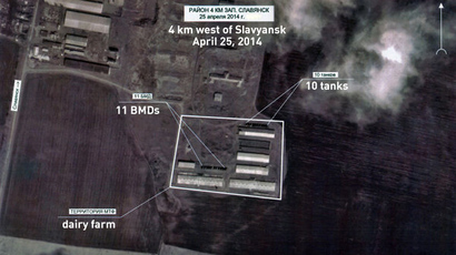 This satellite image dated April 25 shows Ukrainian armored vehicles positioned near the city of Slavyansk, eastern Ukraine. (RIA Novosti / Captions translated by RT)