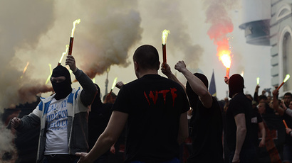 Neo-Nazis march in Lvov 'in honor' of Ukrainian Waffen SS division (PHOTOS)