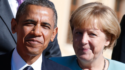 U.S. President Barack Obama and German Chancellor Angela Merkel (Reuters / Grigory Dukor)