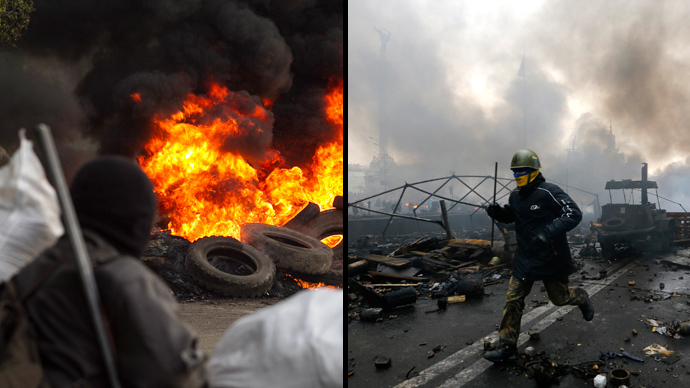(L) An anti-goverment separatist guards a checkpoint as tyres burn in front of him, near the town of Slaviansk in eastern Ukraine May 2, 2014 (Reuters) (R) An anti-government protester runs trough the rubble after violence erupted in the Independence Square in Kiev February 20, 2014 (Reuters)