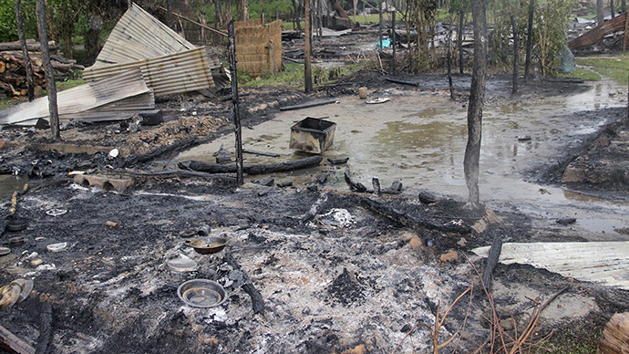 A view of the houses that were burnt during the attacks is pictured at Baksa district in the northeastern Indian state of Assam May 3, 2014. (Reuters)