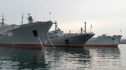 "Russia's Large Landing Ship ""Azov"" (C) is pictured moored at the home base of Russia's Black Sea Fleet in the Crimean port of Sevastopol (Reuters)"