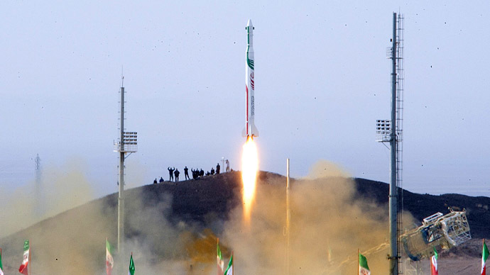 A picture obtained on December 14, 2013 from Iran's ISNA news agency allegedly shows the launch of the Pajohesh (research) rocket containing a live space monkey named Fargam (Auspicious) at an undisclosed location in Iran. (AFP/ISNA)
