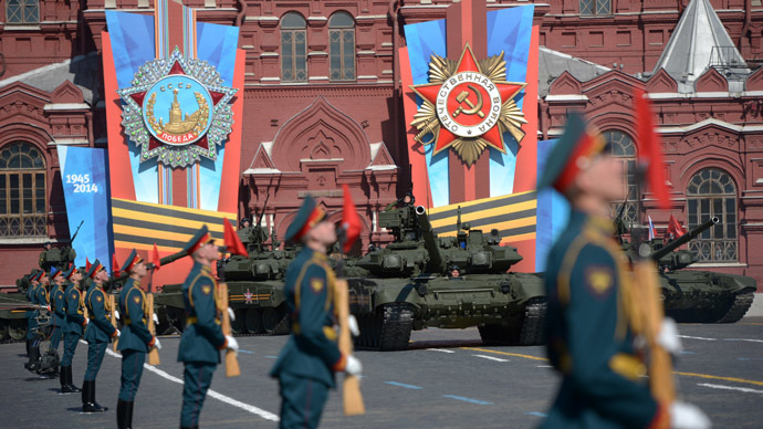 T 90 tanks during the V-Day Parade on Red Square, Moscow. (RIA Novosti/Grigory Sysoev)