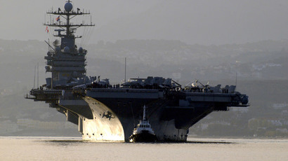The aircraft carrier USS Harry S. Truman arrives in Souda Bay.(Reuters / Paul Farley)