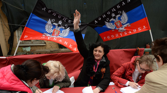 Donbass residents vote in the referendum on the status of the self-proclaimed Donetsk People's Republic (RIA Novosti/Maksim Blinov)