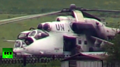 Screenshot from a video showing a white-painted Mil Mi-24 strike helicopter allegedly used by Kiev troops in their military operation against Donetsk regional militia.