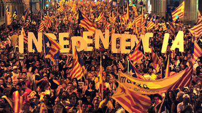 Supporters of independence for Catalonia demonstrate on September 11, 2012 in Barcelona (AFP Photo / Lluis Gene)