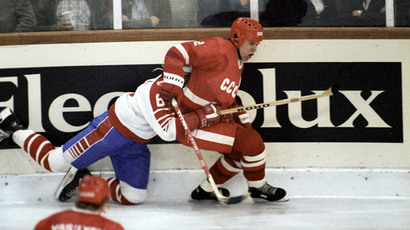 Vyacheslav Fetisov, full-back of the USSR national hockey team. The World Championships in Germany, April-May 1983.(RIA Novosti / Sergey Guneev)