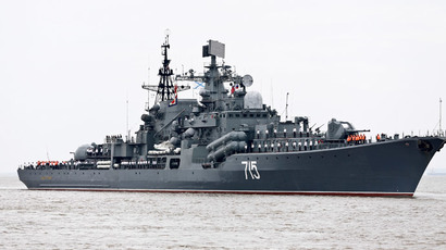 "Russian anti-surface destroyer Bystry arrives at a port ahead of the ""Joint Sea-2014"" naval drill, in Shanghai, May 18, 2014.(Reuters / China Daily)"