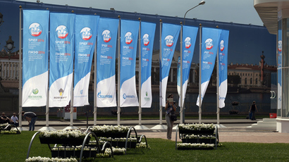 Information flags on the Lenexpo Exhibition Complex territory ahead of the opening of the St. Petersburg International Economic Forum (RIA Novosti / Alexey Danichev)