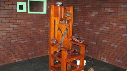 "(FILES) ""Old Sparky"", the decommissioned electric chair in which 361 prisoners were executed between 1924 and 1964 (AFP Photo / Fanny Carrier)"