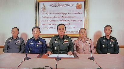An address by Thailand's army chief General Prayuth Chan-ocha (C) in Bangkok May 22, 2014. (Reuters / Athit Perawongmetha)