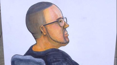 "Courtroom portrait of Hector ""Sabu"" Monsegur finished moments ago at his sentencing hearing (Credit: Clark Stoeckley)"