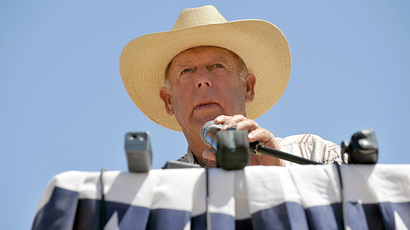 Rancher Cliven Bundy speaks during a news conference near his ranch on April 24, 2014 in Bunkerville, Nevada. (AFP Photo / David Becker)