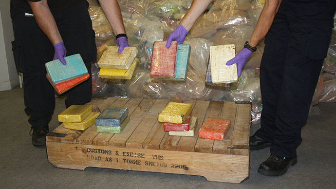 A handout picture obtained in London from Britain's Home Office, shows packages containing cocaine found aboard the luxury yacht 'Louise' in England's southern port of Southampton. (AFP Photo)