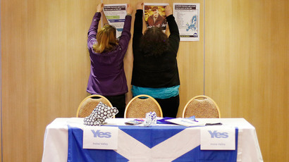 "Volunteers hang campaign signs before a ""Yes"" campaign meeting at the Fenwick Hotel in Kilmarnock, Scotland (Reuters / Suzanne Plunkett)"