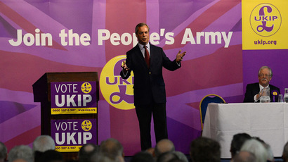 Leader of the UK Independence Party (UKIP) Nigel Farage gestures as he speaks during a campaign event at Kelham Hall in Newark upon Trent, central England on May 31, 2014. (AFP Photo/Andrew Yates)