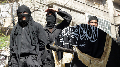 Members of jihadist group Al-Nusra Front in Syria, at the Bustan al-Qasr neighbourhood of Aleppo (AFP Photo)