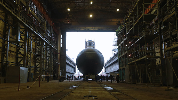 Novorossiysk diesel electric submarine during the launching ceremony at Admiralteyskiye shipyards in St. Petersburg (RIA Novosti)