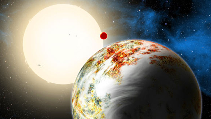 The newly discovered ''mega-Earth'' Kepler-10c dominates the foreground in this artist's conception released by the Harvard-Smithsonian Center for Astrophysics in Cambridge, Massachusetts on June 2, 2014 (Reuters / David A. Aguilar)