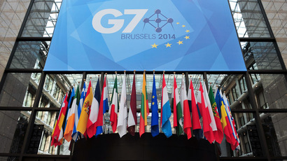 A view of a sign announcing the upcoming G7 summit, in front of the atrium of the European Union Council Building on June 2, 2014, at the EU Headquarters in Brussels. (AFP Photo/Georges Gobet)