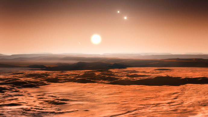 An artist's impression of the view from the exoplanet Gliese 667Cd looking towards the planet's parent star (Gliese 667C).  (AFP Photo / ESO / M. Kornmesser)