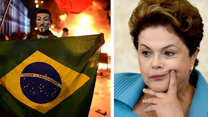 A demonstrator wearing a Guy Fawkes mask holds a Brazilian national flag during clashes in downtown Rio de Janeiro and Brazil's President Dilma Rousseff (AFP Photo / Christophe Simon, AFP Photo / Evaristo Sa)