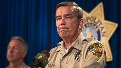Clark County Sheriff Doug Gillespie takes questions during a news conference at Metro headquarters following the death of two officers and a citizen in Las Vegas June 8, 2014 (Reuters / Steve Marcus)