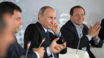 President Vladimir Putin (center) attending the Internet Entrepreneurship in Russia forum at the Silver City Business Center in Moscow, June 10, 2014.(RIA Novosti / Alexei Druzhinin)