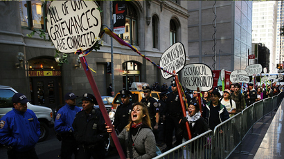Protesters affiliated with Occupy Wall Street demonstrate for a variety of causes at Zuccotti Park near the New York Stock Exchange on the second anniversary of the movement on September 17, 2013 in New York City (AFP Photo / Spencer Platt)