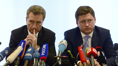 European Comissioner for Energy Guenther Oettinger (left), Russian Energy Minister Alexander Novak (AFP Photo / John Macdougal)