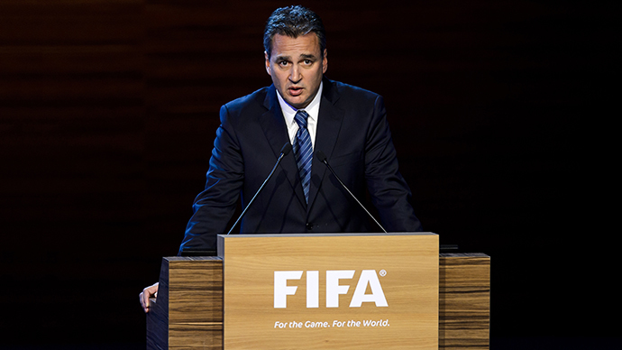 FIFA ethics prosecutor Michael Garcia delivers a speech during the 64th FIFA congress on June 11, 2014 in Sao Paulo, on the eve of the opening match of the 2014 FIFA World Cup in Brazil. (AFP Photo / Fabrice Coffrini)