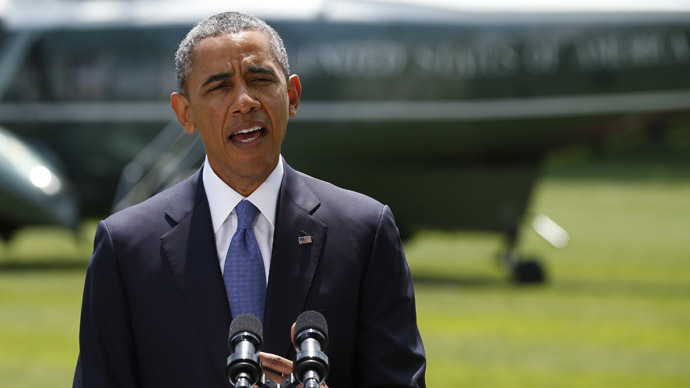 U.S. President Barack Obama delivers a statement on the situation in Iraq, prior to departing the White House South Lawn in Washington, June 13, 2014. (Reuters/Kevin Lamarque)