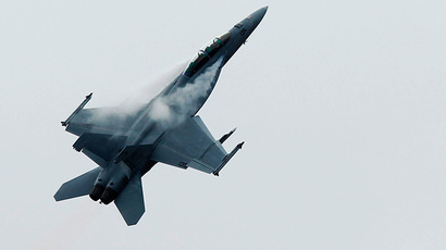 An F18 fighter jet (Reuters / Luke MacGregor)
