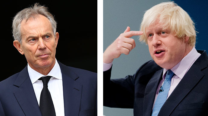 This combo photo shows British former prime minister Tony Blair (left) and London Mayor Boris Johnson. (AFP Photo / John Stillwell / Leon Neal)
