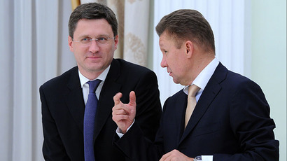 Russian Energy Minister Alexander Novak, left, and Gazprom chairman of the board Alexey Miller (RIA Novosti / Mikhail Klimentyev)