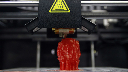 A figurine is printed by Aurora's 3D printer F1 (Reuters/Pichi Chuang)