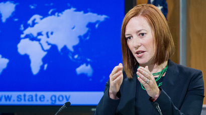US State Department spokesperson Jen Psaki conducts her daily briefing for reporters on June 16, 2014 at the State Department in Washington. (AFP Photo/Paul J. Richards)