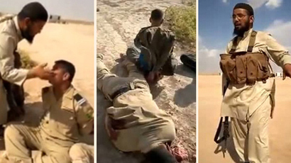 Mistreatment of captive Iraqi soldiers. Screenshot from the alleged ISIS video