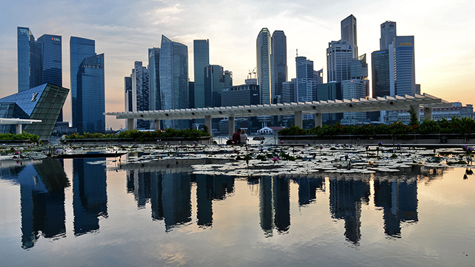 A general view of the financial district skyline is reflected in a pond in Singapore (AFP Photo / Roslan Rahman)