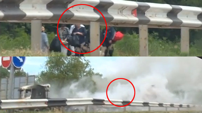 Civilians seen evacuating Lugansk (top) - seconds after a shell explodes just near them (bottom)