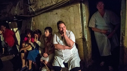 Patients and medical staff of Slavyansk hospital hide in the basement during the shelling of the hospital. (RIA Novosti / Andrey Stenin)