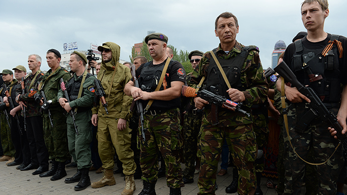 Donbass militia take oath of allegiance to the Donetsk People's Republic (RIA Novosti / Maksim Blinov)