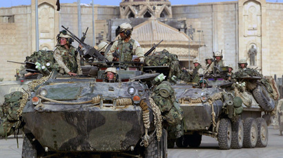U.S. Marines of the 1st LAR based in Camp Pendleton, California occupy Saddam Hussein's presidential palace in the northern Iraq town of Tikrit April 14, 2003. (Reuters)